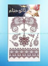 brown henna lace feminine temporary tattoo Stick on Tattoos for Adults