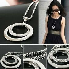 Long Chain Lady Fashion Crystal Rhinestone Silver Plated Pendant Necklace Gifts