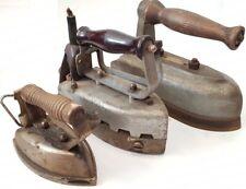 VINTAGE llamativo lote de 3 planchas antiguas electricas y de vapor