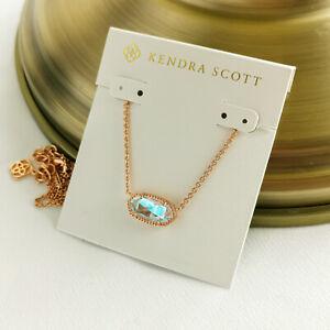 Kendra Scott Elisa Dichroic Glass Pendant Necklace Rose Gold