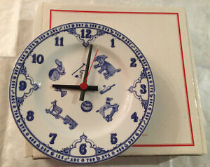 """Lovely Spode """"Edwardian Childhood """" Wall Clock.Blue & White.Made In England.💙"""