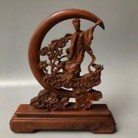 Chinese Antique Boxwood hand-carved jade rabbit fairy Home decoration