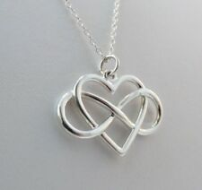 925 Sterling Silver Infinity Love Heart Open Pendant Necklace Chain Stamped UK
