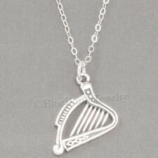 "HARP Charm Celtic Music Instrument Pendant  925 STERLING SILVER 18"" Necklace"