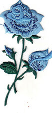 BLUE ROSE FLOWER IRON ON EMBROIDERED APPLIQUE PATCH - ROSES - FLOWERS