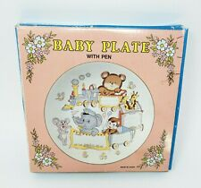 VINTAGE BABY PLATE W PEN ANIMALS IN TRAIN BIRTHDAY / WEIGHT / NAME / TIME IN BOX