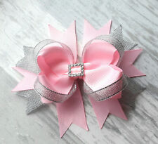 "PINK HANDMADE 5"" HAIR RIBBON BOW GIRL KIDS BABY ALLIGATOR CLIP"