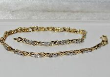 9ct Yellow Gold Diamond Ladies Fancy Link Tennis Bracelet - Gift Boxed