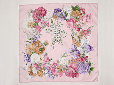Large Square Silk Twill Scarf Pink Theme Floral Print XWC094