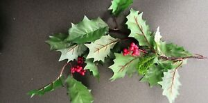 Artificial Christmas Holly Berry & Green Leaves Sprig. Approx 40cm each.