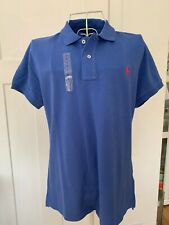 BNWT POLO RALPH LAUREN SKINNY FIT POLO T-SHIRT LARGE 12/14 BRIGHT BLUE DESIGNER