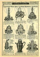1929 PAPER AD Cocktail Shaker Sparklet Syphon Hammered Beverage Sets