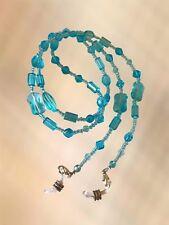 NEW Stunning Turquoise Glass Beaded Eye Glasses / Sunglasses Chain Strap Holder