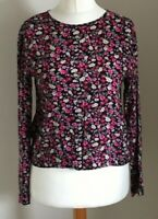 H&M Size Euro 32 Ladies Black Top With Pink, Cream & Grey Floral Print