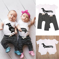 Twins Boy Girl Newborn Baby Toddler Romper Bodysuit Jumpsuit Outfits Clothes UK