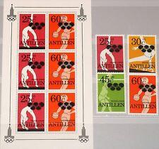 NL NETHERLANDS ANTILLES ANTILLEN 1980 425-28 Block 14 Olympics Moscow Sports MNH
