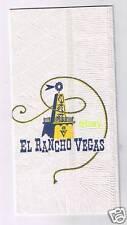 El Rancho Vegas White Dinner Napkin 1950's Las Vegas