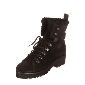 RRP €250 PAS DE ROUGE Leather Ankle Boots Size 38 UK 5 US 8 Sheep Fur Lining