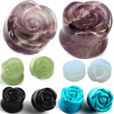 ear gauges ear plugs flesh tunnels organic stone double saddle stone rose shape