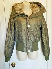 Baby Phat Faux Fur Quilted Bomber Jacket Olive Green/Gold womens Large Hooded