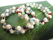 2x Damen Armreif Armband Zuchtperlen Kristall Multicolor Silber Perlen Weiß