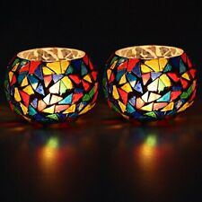 Colourful Glass Crystal Decorated Tealight Holder Candle Light Holder- Set Of 2