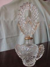 Vintage Large Crystal Gold Trimmed Czechoslovakian Perfume Bottle