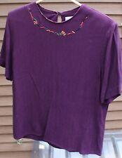 Women's Purple/Burgundy Shirt by Nancy Bolen for City Girl; Size:  S