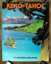 Vintage Original 1970s UNITED AIRLINE LAKE TAHOE Travel Poster railway art air