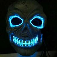 El Wire Light Up LED Mask Neon Rave Horrific Cosplay Party Halloween Costume #