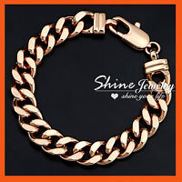 9K ROSE GOLD FILLED SOLID MENS WOMENS FLAT CURB RINGS LINK CHAIN BANGLE BRACELET