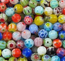 100 x 6mm Assorted Mixed Millefiori Round Beads - B0010