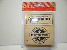 PEBBLES CHRISTMAS STAMP SET WOOD BLOCK NORTH POLE 2 PC. SET