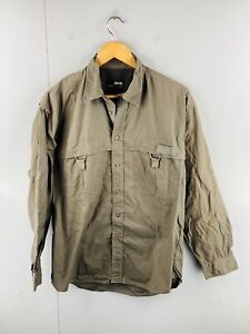 Jeep Men's Long Sleeve Button Up Mesh Lined Shirt Size M Brown
