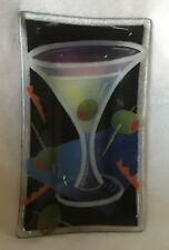 "Peggy Karr - Martini w/ Olives - 6"" x 10"" Rectangular Platter / Tray - Signed"