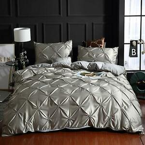 Pinch Pleated Duvet Quilt/Cover Set 1000 TC Satin Silk Silver Grey & Size