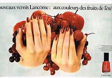 PUBLICITE ADVERTISING 084  1976  LANCOME vernis aux couleurs des fruits d'été(2p