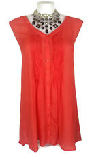 AUTOGRAPH Top - Coral Orange Sleeveless V-Neck Shirt Pleated Buttons Dip Hem 20