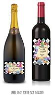Cute PERSONALISED WINE/PROSECCO LABEL. Alice in Wonderland theme. Drink Me!