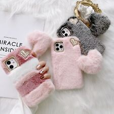 For iPhone 12 11 Pro Max XR X 7 8+ Girl Cute Heart Fluffy Soft Warm Case Cover