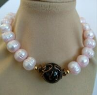 VTG ART DECO MURANO LG BLACK GOLD GLASS@NATURAL ROSE FRESH WATER PEARL NECKLACE