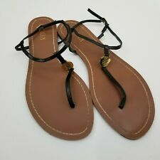 e75e9b6170d9 Lauren Ralph Lauren Womens 11B Black Leather Thong Sandal Ankle Strap Flat  Gold