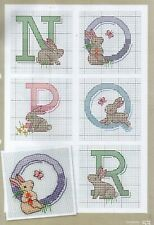 Cross stitch chart. Bunnies Alphabet and numerals