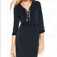 MICHAEL KORS BLACK WITH SILVER CHAIN LACE UP DRESS SIZE SMALL BNWOT