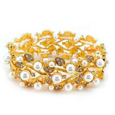 Very Beautiful Elegant Leaf Pearl Wedding Bridal Prom Party Golden Bracelet