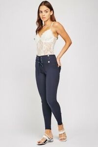 Ladies Navy Blue High Waist Lace Up Treggings/Trousers.. Size  8-10. 12-14.