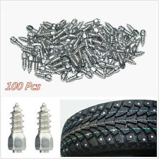 100 Pcs Steel Body & Carbide Tip 12mm Autos Wheel Chains Studs Tires Snow Spikes