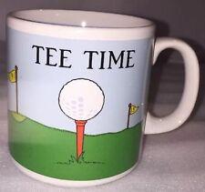 Vtg TEE TIME Golf Theme Ceramic Coffee Mug Cup by Russ Berrie #8139 Golfer