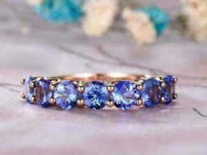 2 Ct Oval Cut Tanzanite Half Eternity Wedding Band Ring 14k Rose Gold Over