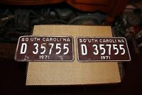 Vintage Retired 1971 South Carolina License Plate D35755 Matching Pair Auto Car